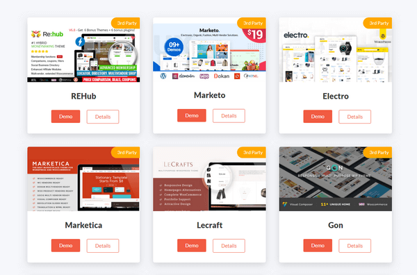Dokan Compatible Themes for rental marketplace