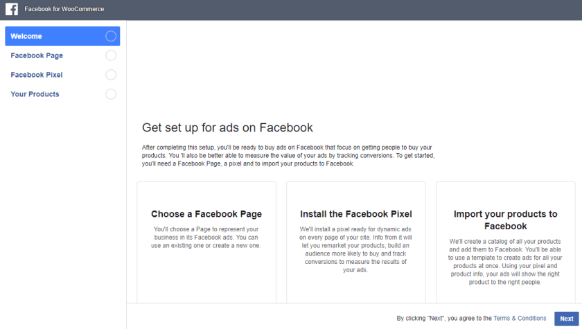 Facebook for WooCommerce welcome page