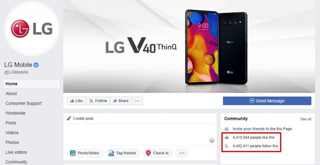 Facebook Page Example for Product eCommerce