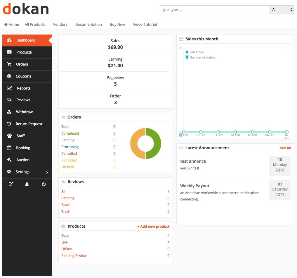 Dokan Vendor Overview Dashboard-