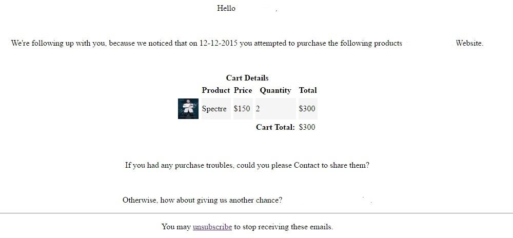 WooCommerce Abandoned Cart Emails Samples