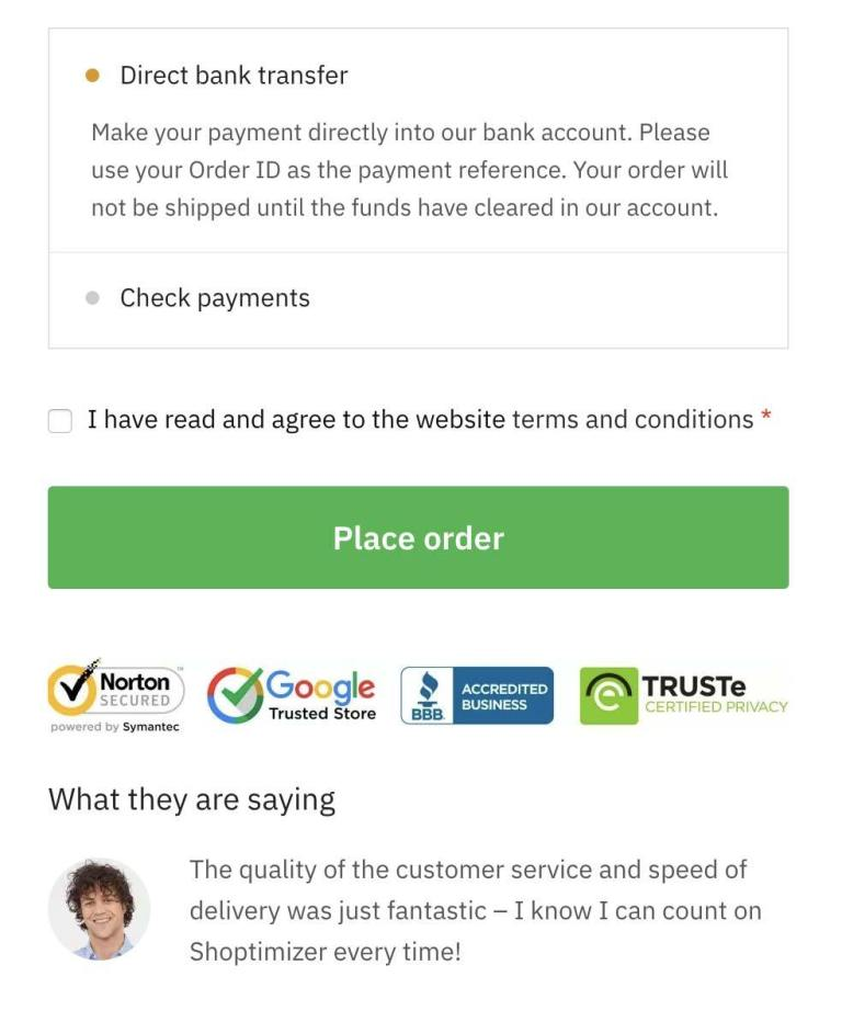 Trust Logos including Testimonial at Checkout Page