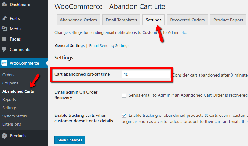 WooCommerce Abandoned Cart Emails Settings