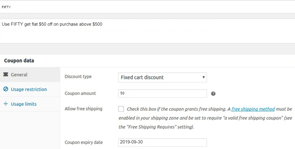 Coupons for Cart Total