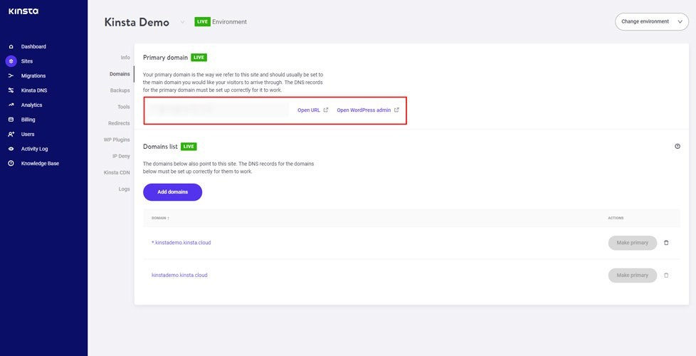 Kinsta Setup Primary Domain Name