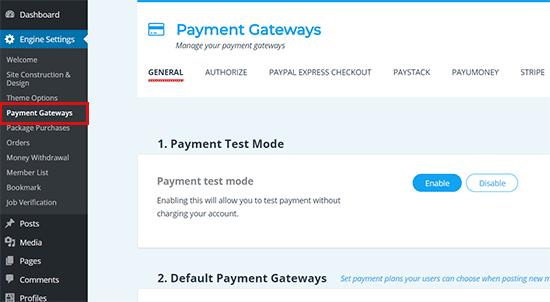 Payment Gateways Set up