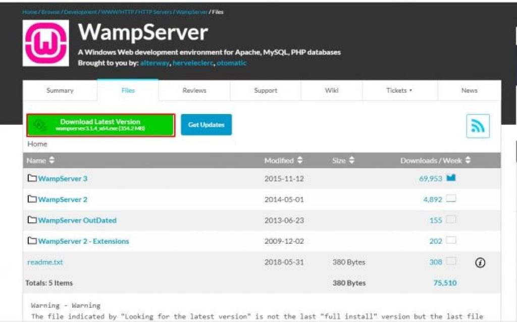 WAMP redirected page