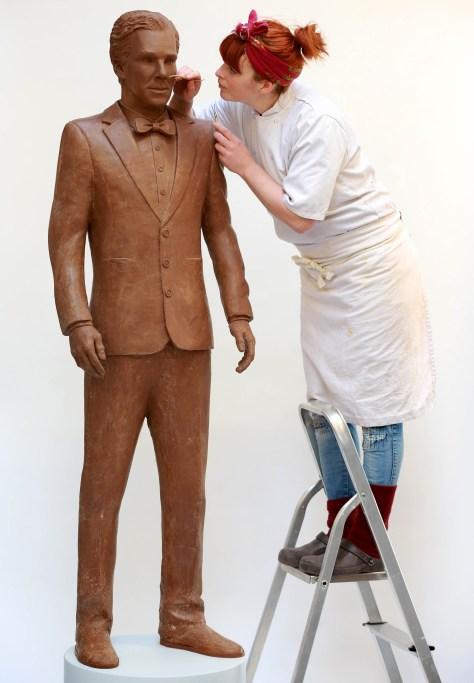 EDITORIAL USE ONLY Chocolatier Jen Lindsay-Clark makes final adjustments to a life-size chocolate sculpture of actor Benedict Cumberbatch, which has been created to celebrate the launch of television channel Drama on the new on-demand service uktvplay.co.uk following a national poll which named Benedict as BritainÕs dishiest television drama actor, just in time for Easter. PRESS ASSOCIATION Photo. Issue date: Wednesday April 1, 2015.  A crew of eight people worked on the sculpture, which took over 250 man hours to create and weighs 40kg. The statue will be at Westfield Stratford on Friday 3rd April. Photo credit should read: Matt Alexander/PA Wire