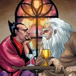 """Exclusive Reveal: God and Satan Have Coffee on """"Second Coming"""" #5 Cover"""