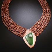 Knitted Copper Necklace with Vesuviant & Abalone Cabs
