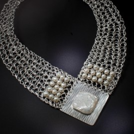 Knitted Pearl & Sterling Silver Necklace
