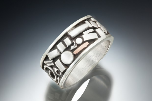 Sterling Silver Band with Copper Accent