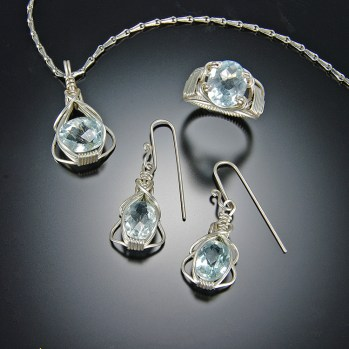 Swiss Topaz Silver Jewelry Set and Hand Crafted Wire Chain