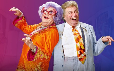 Barrie Humphries as his alter egos Dame Edna and Sir Les