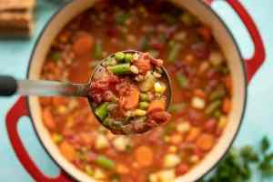 Ninja Foodi vegan vegetable barley soup