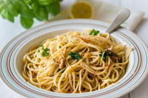 Lemon-garlic sardine pasta