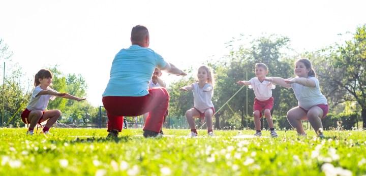 Children squating