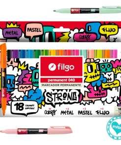 filgo marcador permanente 040 18 colores mumi diseño divertido