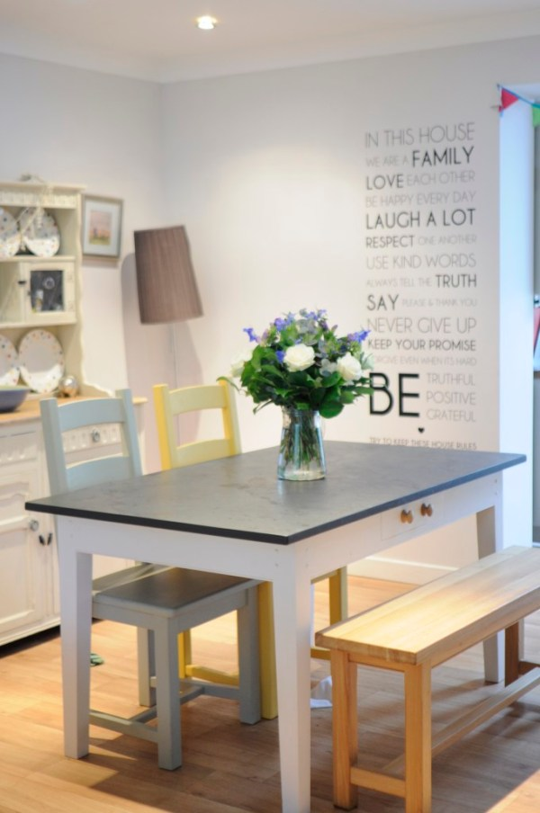 A slate top table is the perfect addition to any family, its hard wearing and multitasking and heres how it functions into our little home