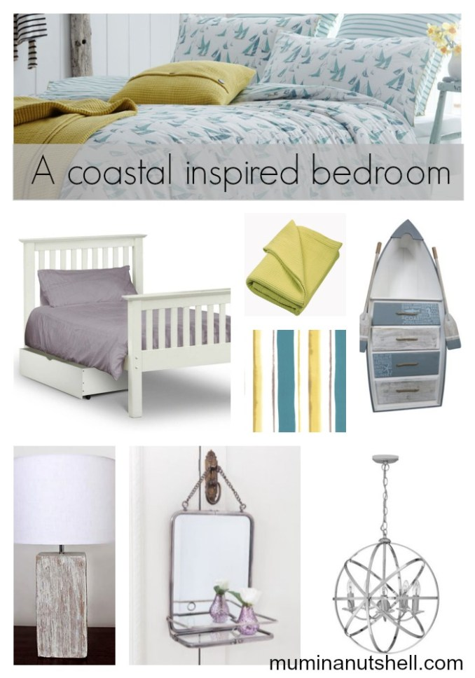 A coastal / nautical inspired bedroom mood board with hints of teal blue and mustard yellow on a white backdrop.
