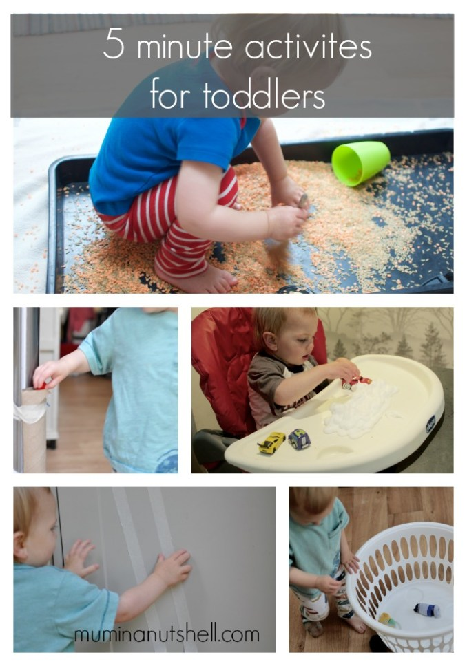 5 Activities For Toddlers  (For When You Need 5 Minutes Peace)