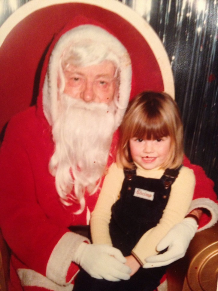 sitting on santa knee, my 1980's christmas memories