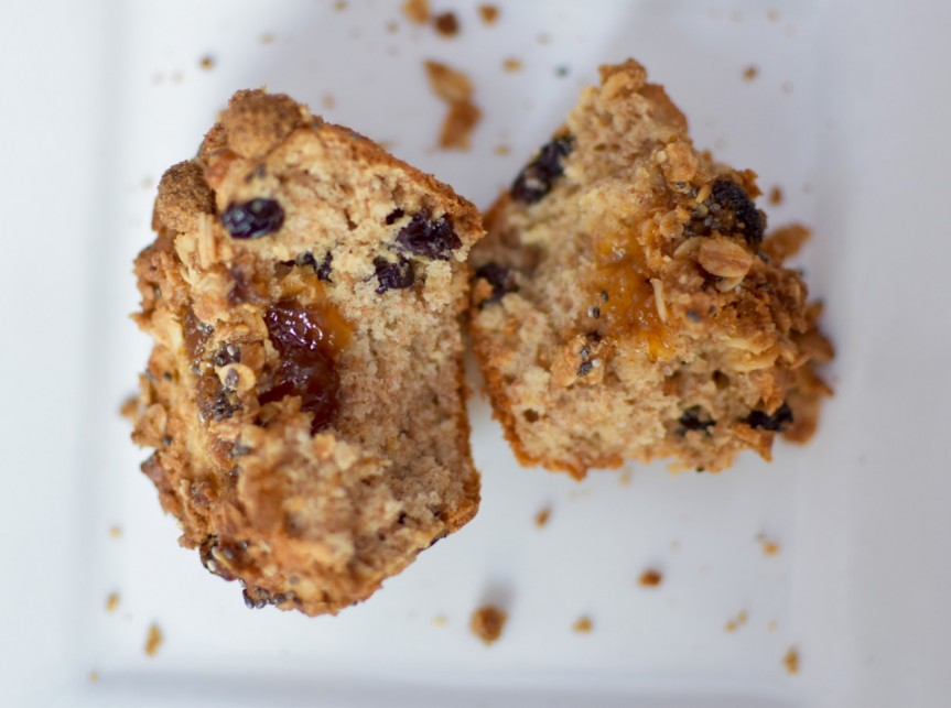 delicious breakfast muffins combining 2 breakfast favourites; marmalade and granola.