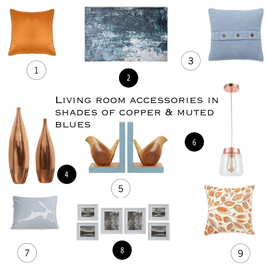 A mood board of inspiration for decorating your home in a blue and copper themes