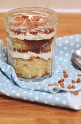 A delicious recipe for a caramel cake which I serve in a jar to give as gifts or just so each member of my family gets their own portion and there's no arguments!