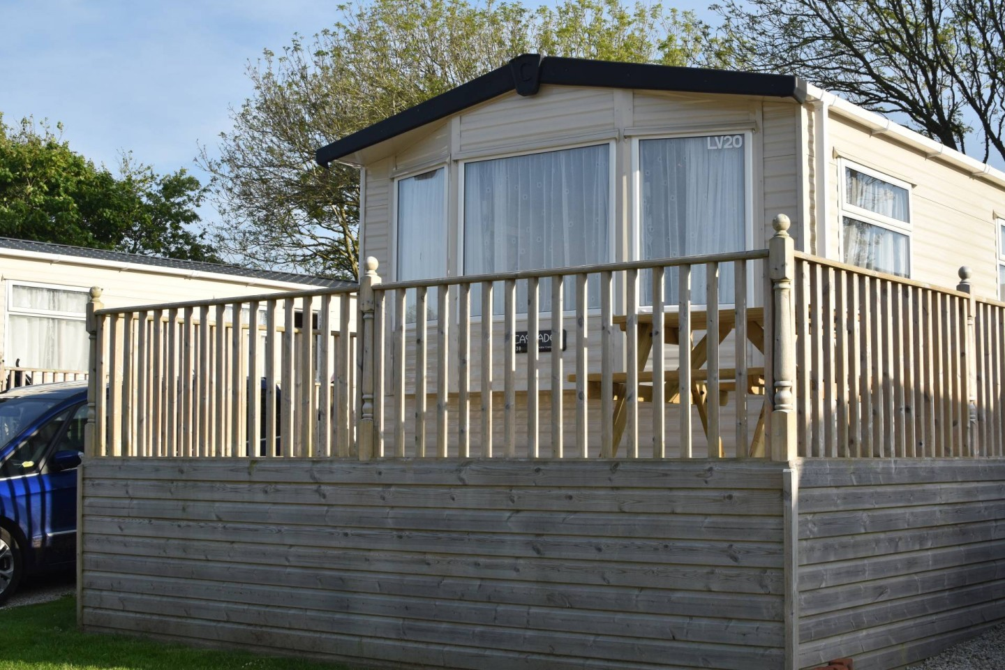 the beautiful setting of the Lake view caravans in Trevella Park, Crantock in Cornwall
