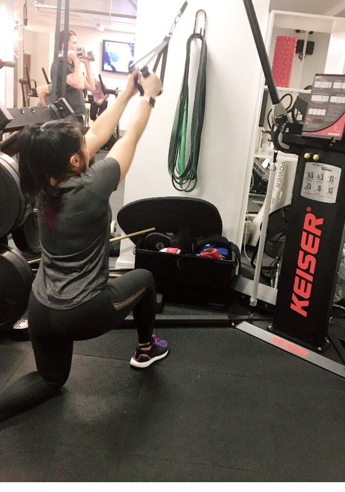 Julie working out, upper body