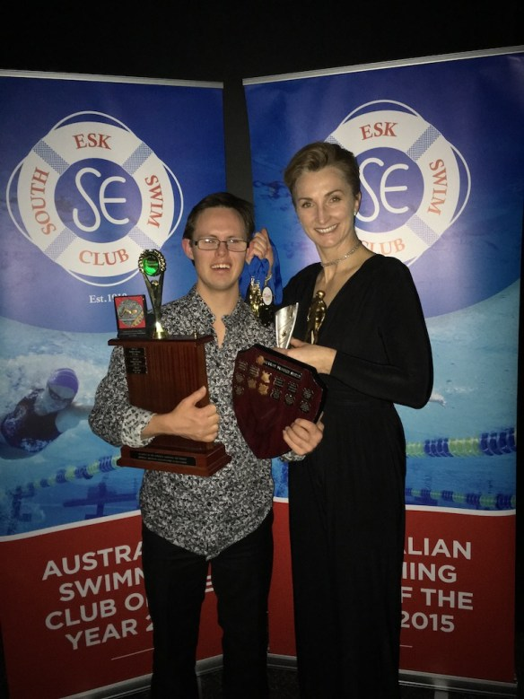 Aran with President of South Esk Swimming Club, Jayne Shepherd, at the annual SESC awards Gala. Among many awards, Aran won overall Club Champion.