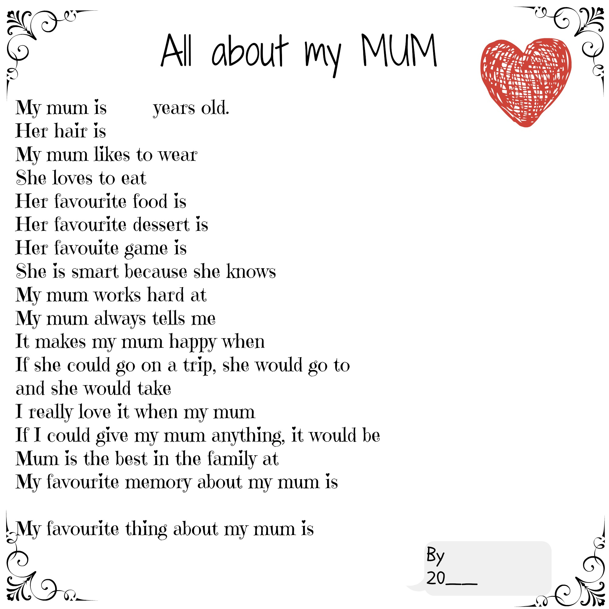 All About My Mum Printable Mum Made Mine