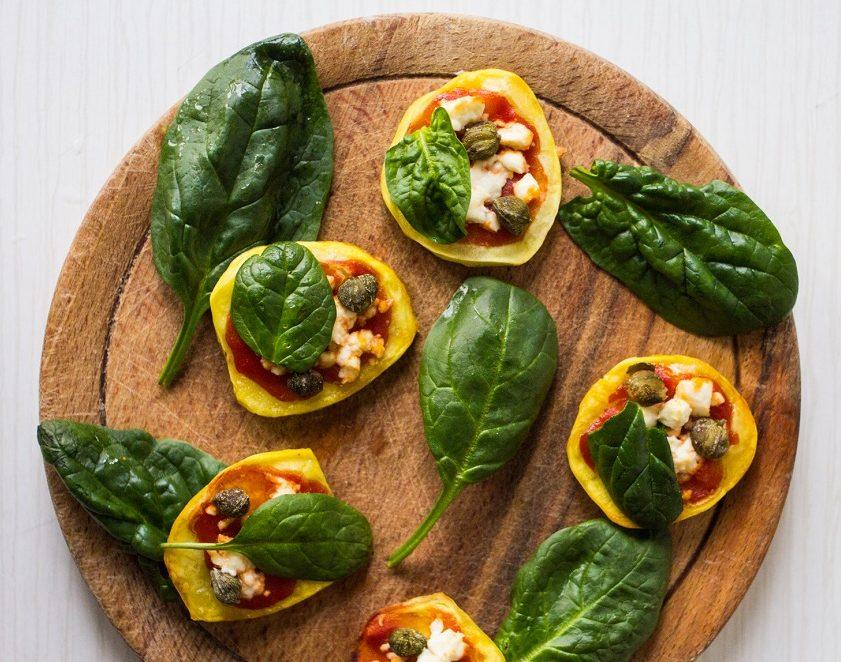 potato-capers-spinach-mini-pizza