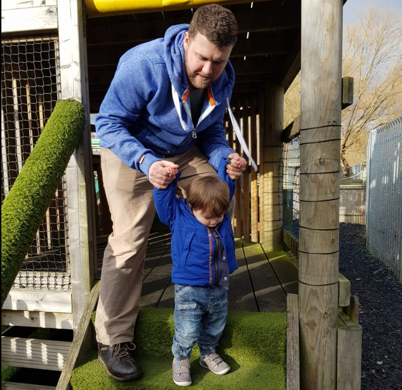 dad-helping-toddler-son-down-grassy-steps