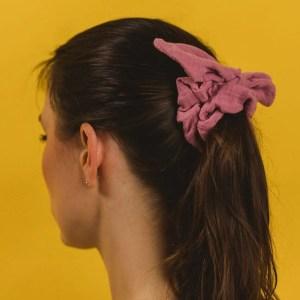 SchleifenScrunchie – zuckerwattenrosa