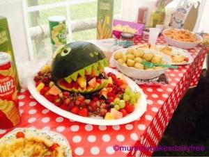 Dinosaur fruit platter