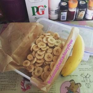 Chopped banana waiting to be frozen