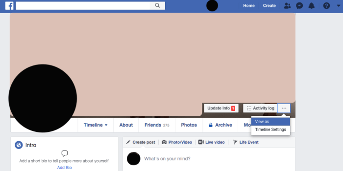 how to view as on facebook