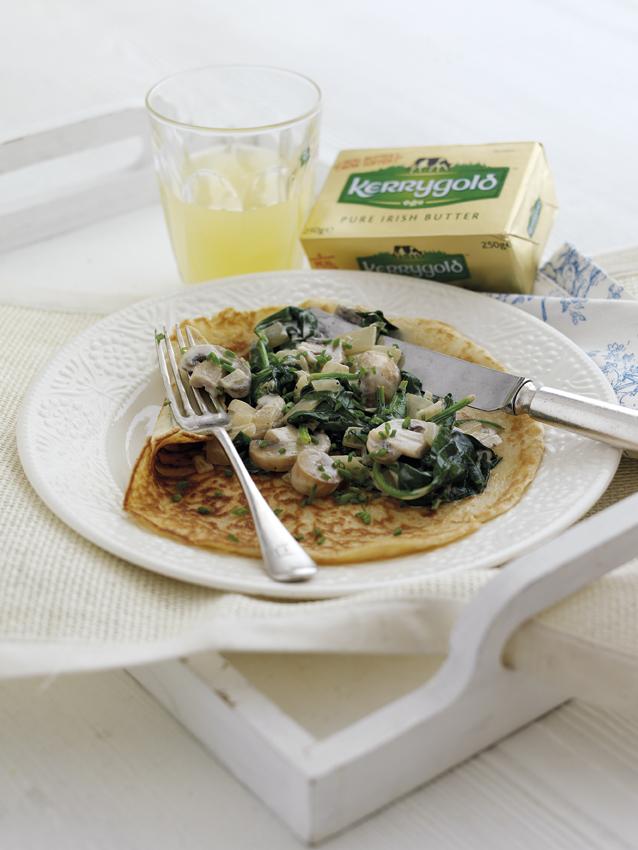 Rachel Allen Mushroom and Spinach Pancakes