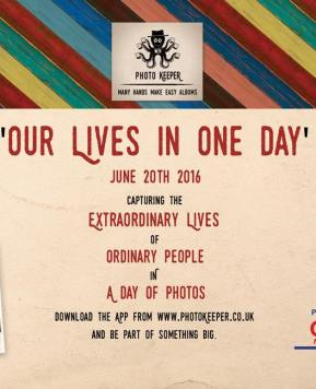 #ourlivesinoneday raising money for charity with a photo