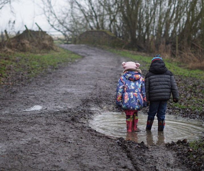 Reflections in the muddy puddles