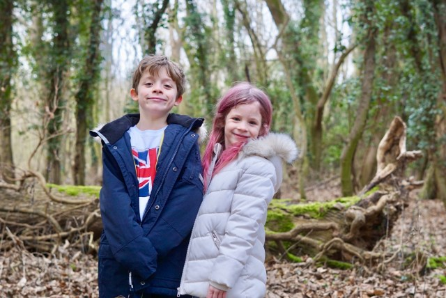 Noah and Isla in the woods