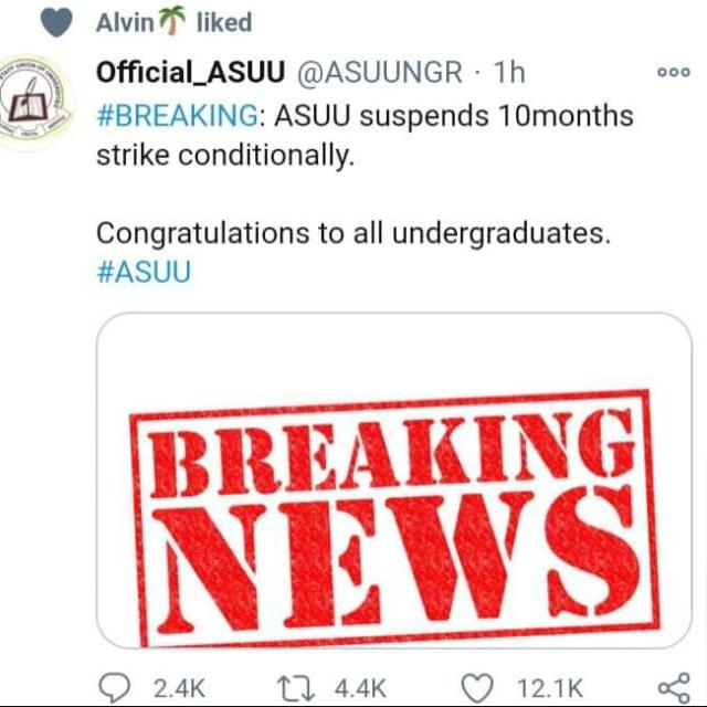 ASUU Suspends Strike