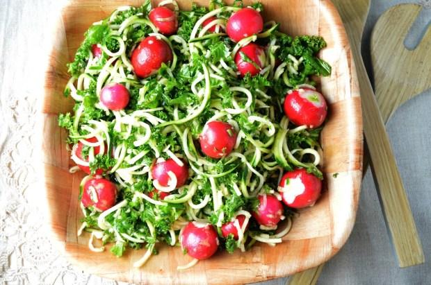 Zucchini Spaghetti & Kale Salad with Radishes