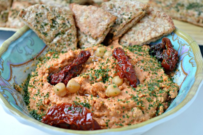 Sun-Dried Tomato Hummus with Homemade Pita Chips