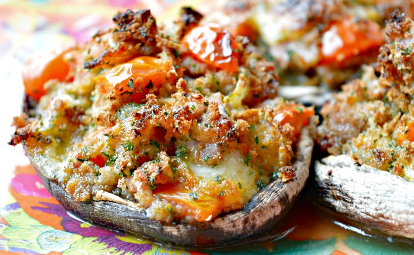 Stuffed Mushrooms with Bacon, Mozzarella & Cherry Tomatoes