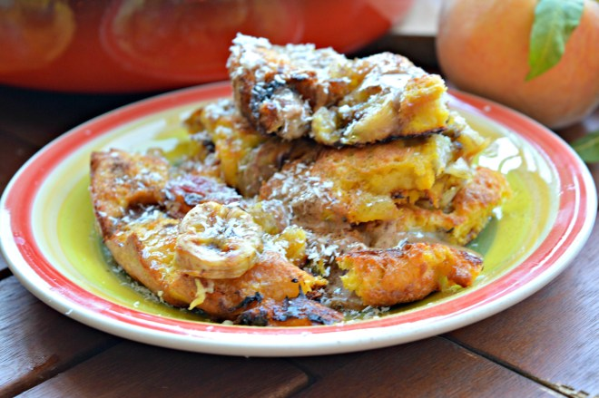 Oven-Baked Banana & Peach French Toast