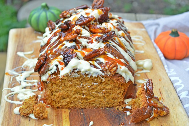 White Chocolate & Caramelized Pecans Pumpkin Bread