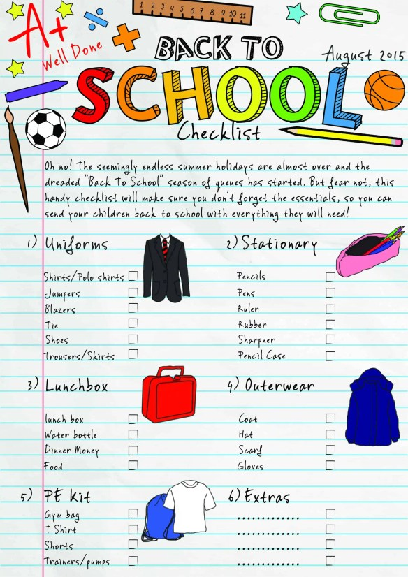 Back to school checklist Print